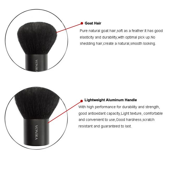 Classic Full Round Kabuki Makeup Brush With Extra Soft Goat Hair