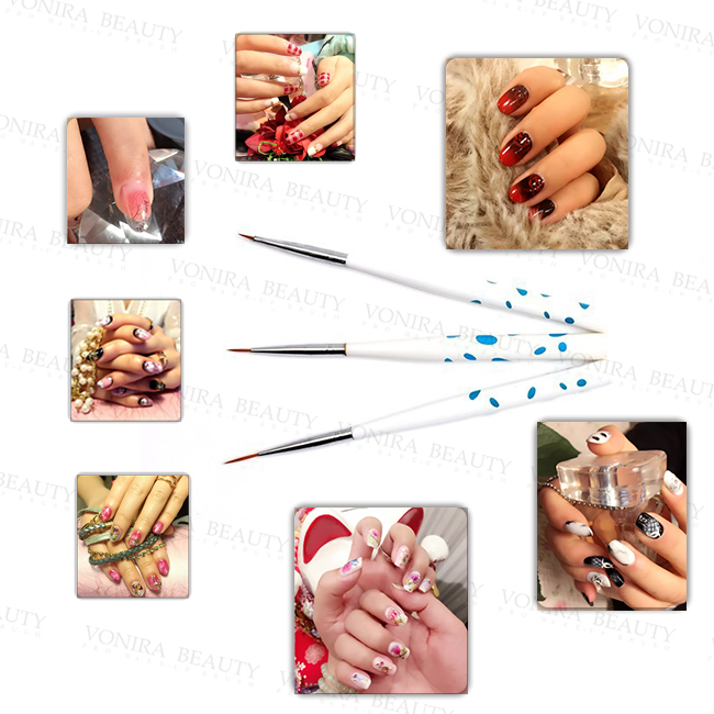 Professional Popular Pink Nail Paint Art Brushes Set With High Quality Kolinsky Hair