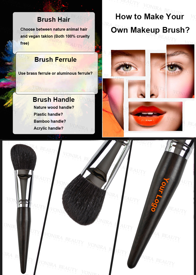 Popular High Quality All Over Makeup Blending Brush With Soft Fine Pony Hair