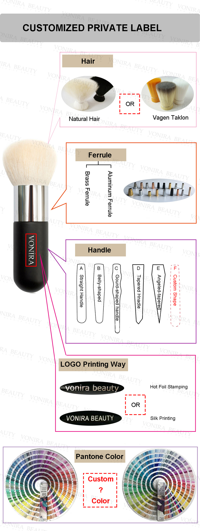 Sable Hair C - Shape Private Label Makeup Brushes , Eyeshadow Makeup Brushes