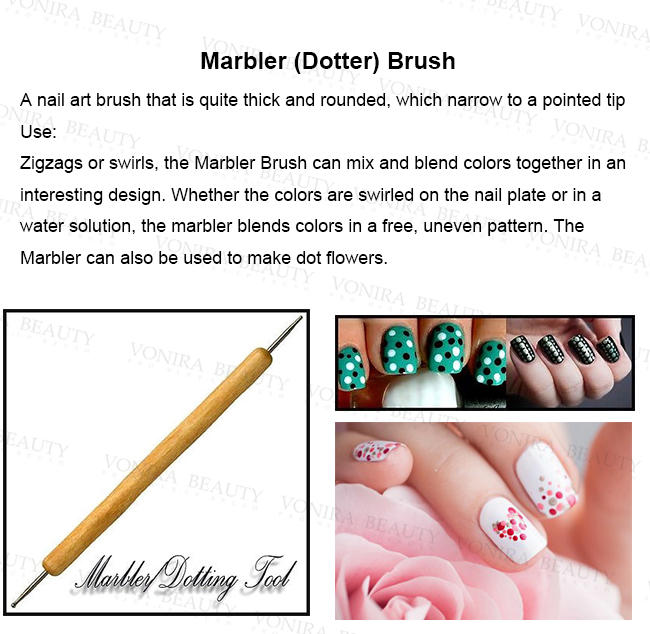 Pearl White Full Line Nail Art Brushes Set With Pure Kolinsky Hair And Nature Wood Hand