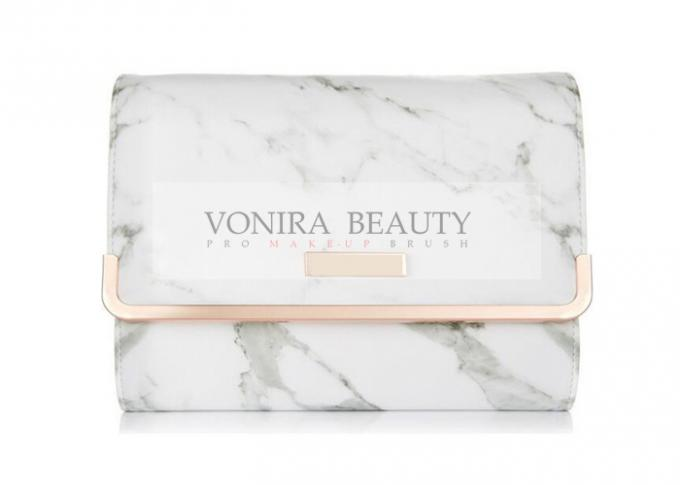 Customized Portable Marble PU Leather Makeup Brush Bag Cosmetics Case