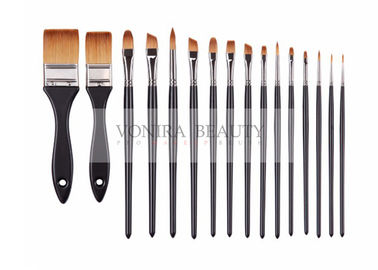 Super Fine Synthetic Hair Face Paint Brush Set Black Wooden Handle 16pcs With Pouch