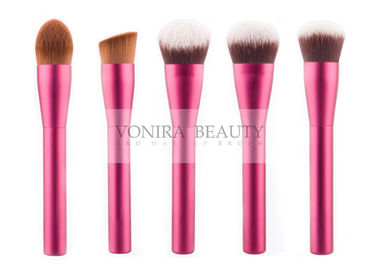 Ultra Fine Synthetic Makeup Brush Set With Rose Red Metal Handles