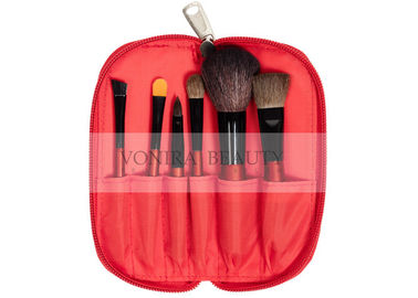 China Natural Goat Pony Hair Makeup Brushes Set With Zipper Case , Eyeshadow Brush Set supplier