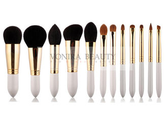Golden Copper Ferrule Natural Hair Makeup Brushes White Bullet Shape Handle