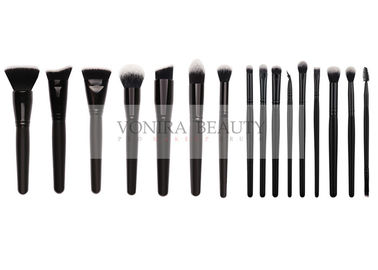 Black White Hair Tip Taklon Synthetic Hair Makeup Brushes With Glossy Black Ferrules