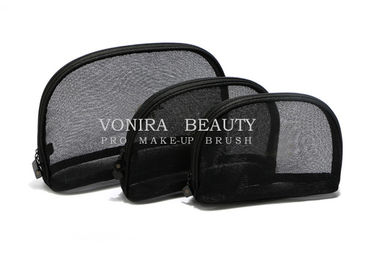 3Pcs Travel Cosmetic Case Women Fashion Black Mesh Zipper Makeup Bag Toiletry Storage