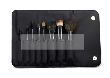 8PCS Travel Makeup Brush Set / Cosmetic Brush Kit With Black Roll Pouch