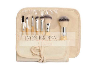Eco Bamboo Mini Cosmetic Brush Set with Natural Gunny Brush Roll