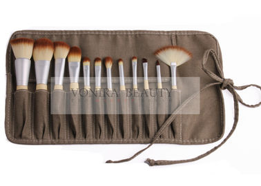 Professional Eco Bamboo Makeup Brush Set With Gunny Brush Roll