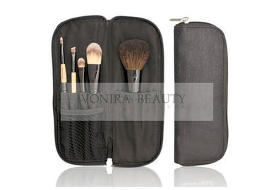 Eco Friendly 5 Pcs Bamboo Handle Makeup Brush Travel Kit With Natural Hair
