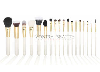 Pearl White Professional Makeup Artist Brushes Nature Wood Handle