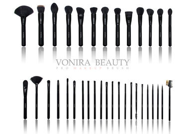 China Synthetic Essential Makeup Brushes With Classic Matte Black Handle And Glossy Ferrules supplier