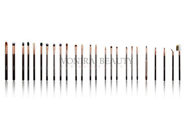 Custom Private Label  Full Line Vonira Makeup Brush Collection with Rosy Gold Ferrule Fabulous Brown Color Handle