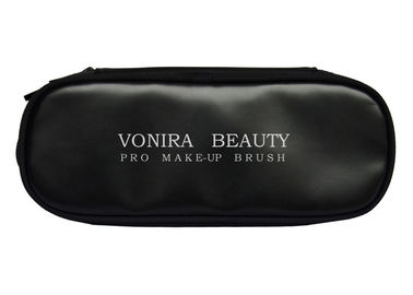 Professional Double Zippers Makeup Brush Bag Large Capacity Black Cosmetics Holder