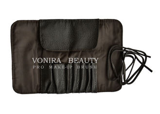 Retro Makeup Brush Roll-up bag With Belt Strap PU Cosmetic Pen Pencil Case Bag
