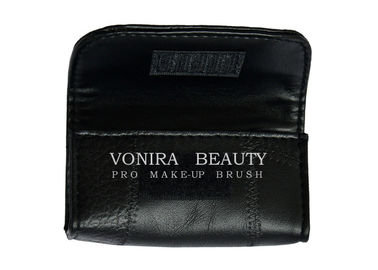 High Quality Leather Cosmetic Organizer Case Roll For Short Makeup Brushes Pouch Bag Black