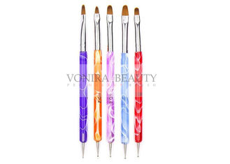 Dual Ended Acrylic Nail Design Brushes With UV Gel Rhinestone Nail Art Dotting Pen