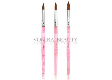 Pink Acrylic UV Gel Round Nail Art Brushes With Nature Kolinsky Hair