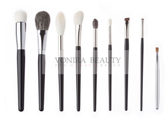 Gorgeous Handmade Natural Animal Hair Makeup Brushes Luxe Glossy Black Handle