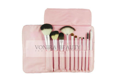 Pink Promotional Gift Travel Size Makeup Brushes 10 PCS PU Leather Case