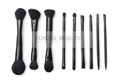 9 Pcs Cosmetic Double Ended Makeup Brush With Synthetic Hair