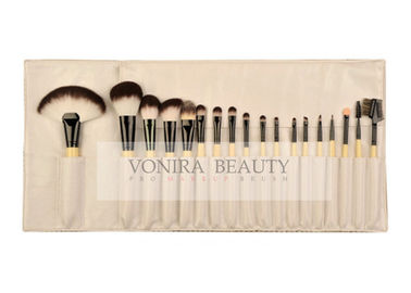 Bamboo Handle Eco Synthetic Makeup Brushes Set With Leather Roll Pouch
