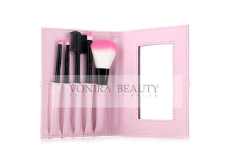 Black Travelling Size Foundation Hair Brush Beautiful Pink Brush Case And Mirror