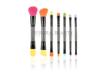 Colorful Synthetic Makeup Brushes Double End for Travel With Black Roll Case