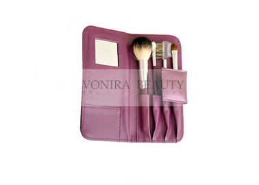 Custom Travel Cosmetic Makeup Brush Gift Set Nature Bristle And Mirror Purple Case