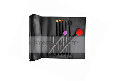 Black Gift Foundation Makeup Brush With Colorful Synthetic Hair 7 PCS