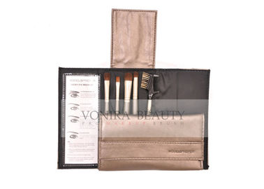Handy 5Pcs Travel Makeup Brush Set With Black Pouch , Natural Animal Hair