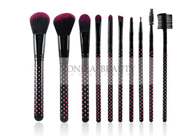Dual Tones Synthetic Hair Makeup Brush Set With Beautiful Dotted Handle