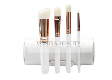 4Pcs Goat Natural Hair Makeup Brushes With Holder , Travel Brush Collection White Wood Handle