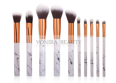 10 PCS Beautiful Marble Makeup Brush Kit With Rose Gold Ferrule