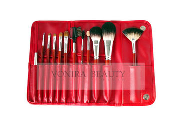 12PCs Nature Hair Cosmetic Makeup Brush Collection With Classic Red Handle And Red PU Clasped Case