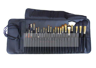 22Pcs Professional Makeup Brush Set Elegant Blue Roll Pouch With Belt Strap Closure