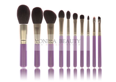 Hot Synthetic Fiber Makeup Brush Collection With Stylish Lavender Wood Handle