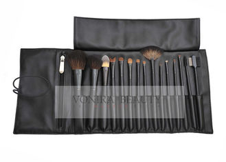 15Pcs Luxury Animal Natural Hair Makeup Brushes Set Black Brush Roll With Holder