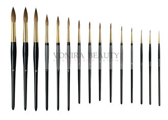 China Fabulous Nature Pure Kolinsky Round Nail Art Brushes With Gold Ferrule And Black Handle 15 PCS supplier