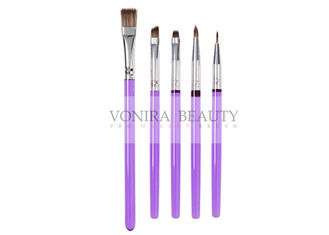 5Pcs Decorating Brush Set With Purple Slim Handle Art Painting Brush Collection For Food