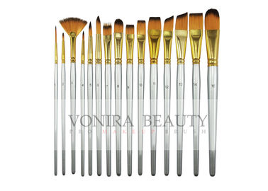 15 Synthetic Short Handle Art Body Paint Brushes for Acrylic , Oil  Gouache  & Face Painting