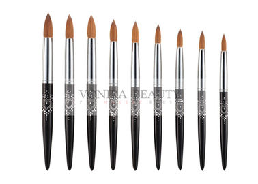 9 PCS Nature Sable Hair Round Nail Art Brushes With Beautiful Heart Shape Painting Black Handle