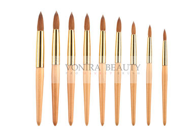 3D nail art paint brushes Set With Gold Ferrule And Wood Handle