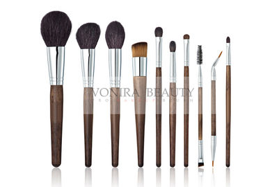 10 PCS Deluxe Dual End Makeup Brush Collection Nature Ebony Handle For Face And Eye
