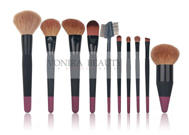 10 pcs Custom Professional Makeup Brush Set With Nature Hair And Duel Colors Wood Handle