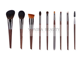 9pcs Essential Natural Hair Makeup Brush Kit Collection With Copper Ferrule