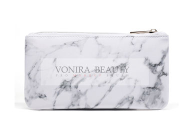 High end Quality PU Leather Makeup Brush Bag Case with Marble Look
