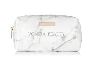 Ladies Travel Square Cosmetic Pouch Bag Zipper Storage Marble Style